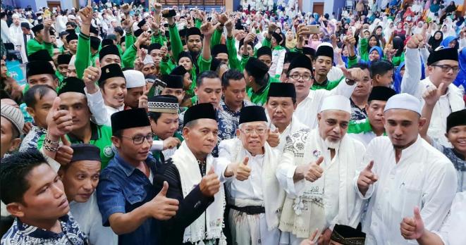 Ma'ruf Amin di acara istigasah dan doa bersama untuk bangsa dalam rangka Harlah Nahdlatul Ulama (NU) di Gelangang Remaja Senen, Jakarta Pusat, Sabtu (2/2/2019).