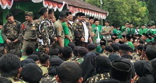 Yaqut Cholil Qoumas, di Apel Kebangsaan Satu Janji Satu Negeri, di Alun-alun Bojonegoro, Jawa Timur, Minggu (24/3/2019).