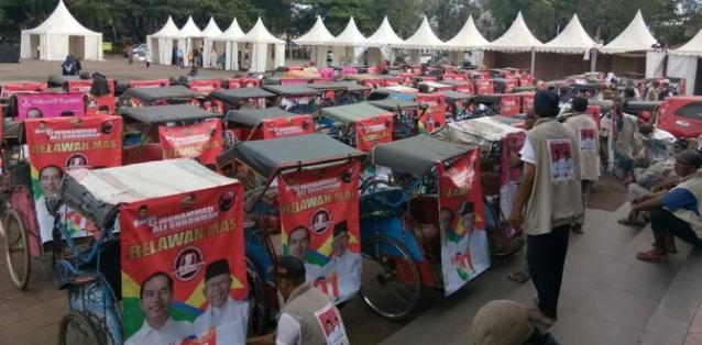 Ratusan tukan becak Serang dukung Jokowi.