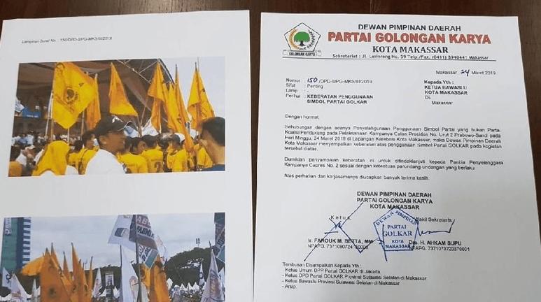 Partai Golkar Surati Bawaslu Kota Makassar (Foto: Dok. Istimewa).