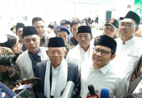 Ma'ruf Amin dan Muhaimin Iskandar saat berikan penjelasan kepada media.