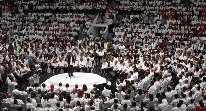 Jokowi saat pidato di acara deklarasi Pengusaha Indonesia.