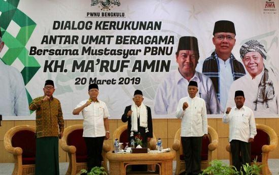 Ma'ruf saat menghadiri Dialog Kerukunan Antar Umat Beragama di Grage Hotel, Provinsi Bengkulu, Rabu (20/3/2019).