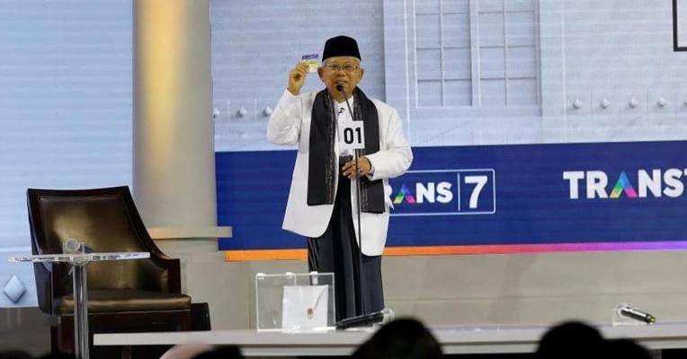 KH Ma'ruf Amin saat acara debat Cawapres.