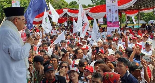 KH Ma'ruf Amin saat kampanye di Depok.