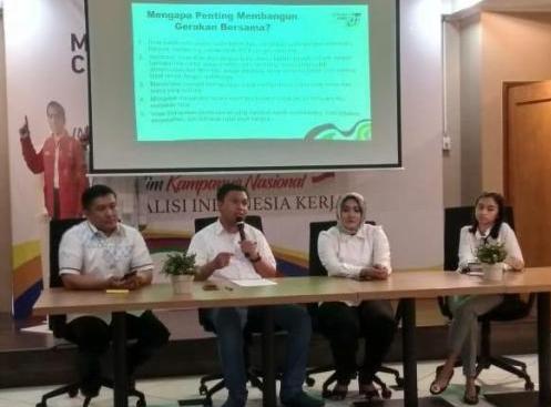 """Diskusi dan konferensi pers """"Kata Milenial tentang Hoax dan Golput"""" yang digelar Gerakan Tangkal Fitnah di Media Center TKN, Menteng, Jakarta Pusat, Kamis (28/3/19)."""