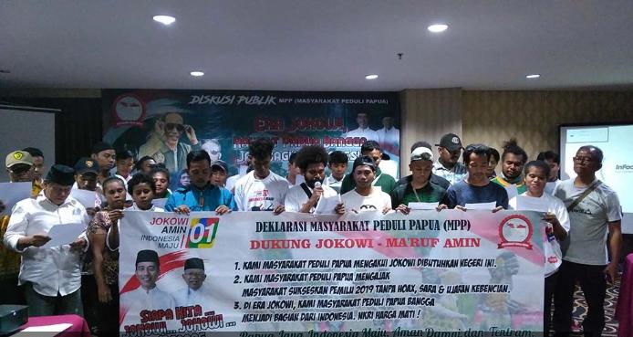 Masyarakat Peduli Papua saat deklarasi dukung Jokowi-Ma'ruf Amin.