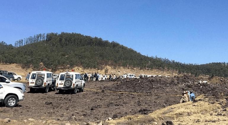 Lokasi jatuhnya Ethiopian Airlines yang membawa 157 penumpang dan awak dari 33 negara (REUTERS).