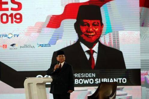 Prabowo Subianto saat debat Capres 2019.