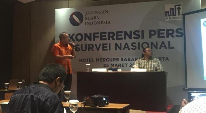 Direktur Eksekutif Jaringan Suara Indonesia (JSI), Fajar S Tamin dalam konferensi pers di Hotel Mercure Sabang, Jakpus.