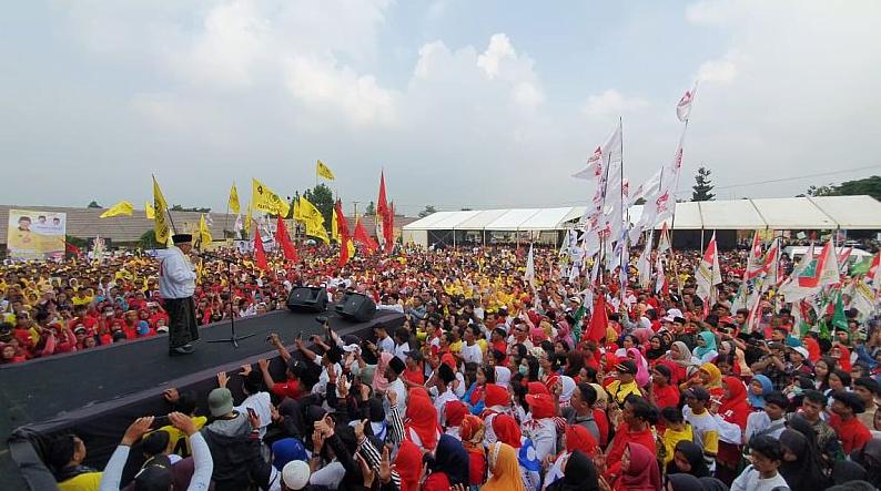 Ma'ruf Amin saat kampanye di Bogor.