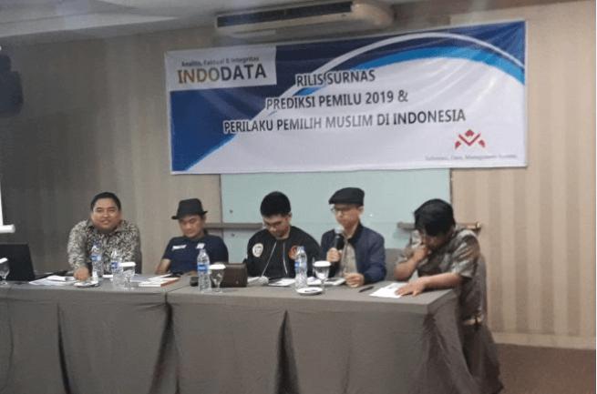 Rilis hasil survei Indodata terkait Pilpres 2019.