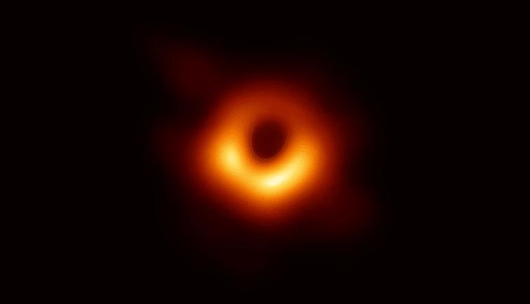 Visual pertama lubang hitam yang diumumkan para peneliti (Foto: Event Horizon Telescope (EHT)/National Science Foundation/Handout via REUTERS).