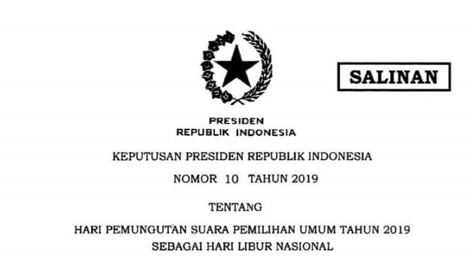 Keppres Libur Nasional 17 April 2019 (ist).