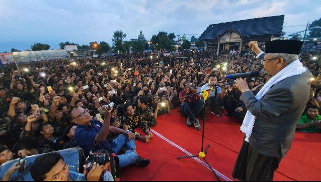 KH Ma'ruf Amin saat hadiri Apel Akbar Banser di Lamongan, Jawa Timur.