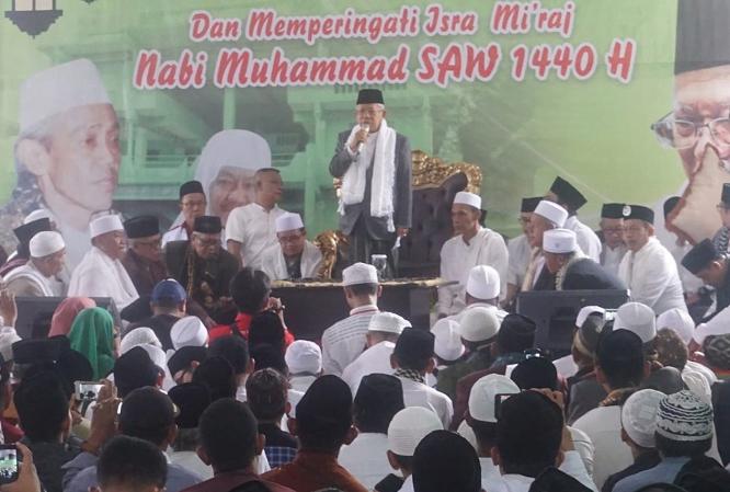 Ma'ruf Amin saat hadir deklarasi para kiai se-Karisedenan Bogor.