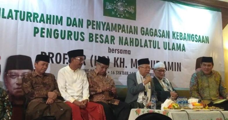 Cawapres Ma'ruf Amin hadir di acara Silaturahmi dan Penyampaian Gagasan Kebangsaan di kantor PBNU, Jakarta, Senin (22/4/2019).