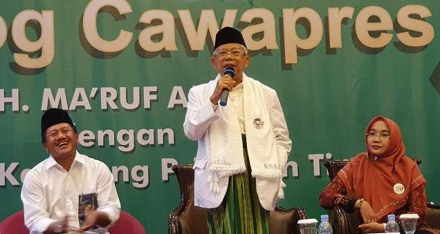 KH Ma'ruf Amin saat menghadiri dialog dengan Forum Pesantren Priangan Timur, Garut, Jawa Barat, Kamis (4/4/2019).