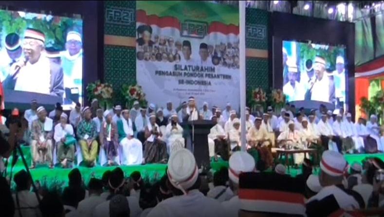 Ribuan pengasuh pondok pesantren (ponpes) se-Indonesia deklarasi jihad menangkan Jokowi-Ma'ruf Amin.