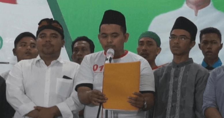 Forum Pemuda Lintas Iman Mojokerto saat deklarasi dukung Jokowi-Ma'ruf Amin.