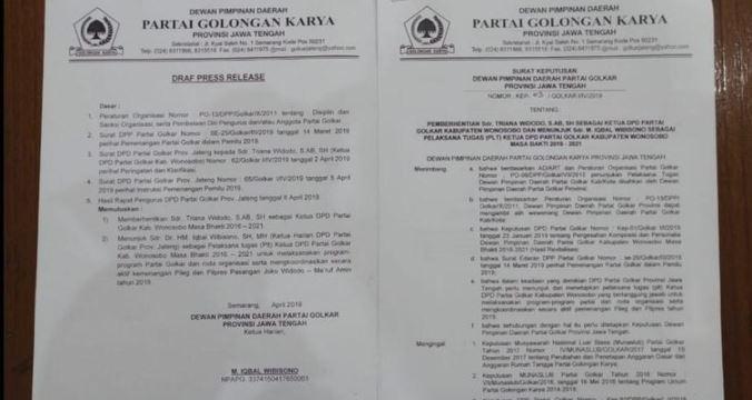 SK pemecatan Ketua DPD Golkar Wonosobo.