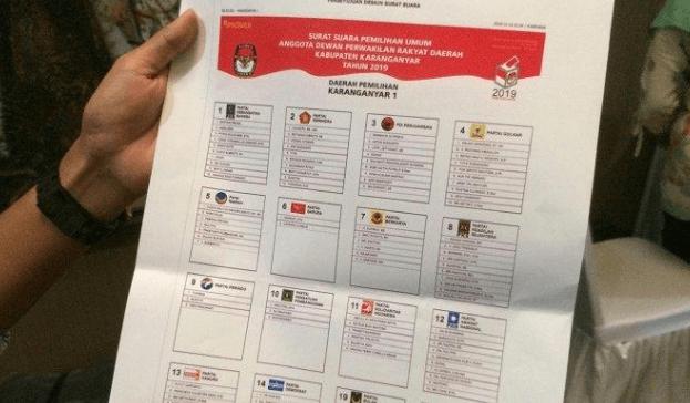 Ilustrasi surat suara untuk Pileg.