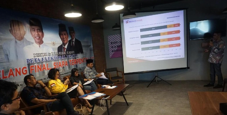 Rilis survei Indopolling Network jelang coblosan.