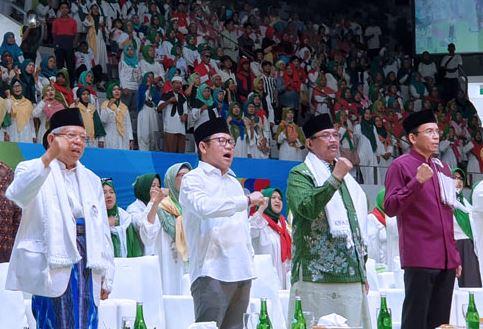 Cawapres nomor urut 01, KH Ma'ruf Min saat hadiri Majelis Taklim Bersholawat di Istora Senayan, Jakarta.