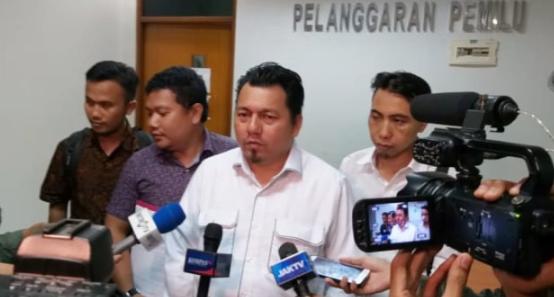 Ditektur Hukum dan Advokasi TKN, Ade Irfan Pulungan di Gedung Bawaslu.