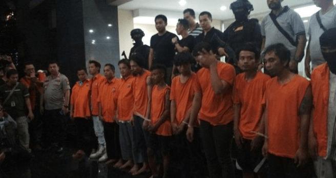 Para pelaku kerusuhan saat dirilis Polda Metro Jaya.