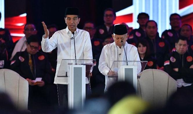 Pasangan capres dan cawapres 01 Jokowi-Ma'ruf Amin.