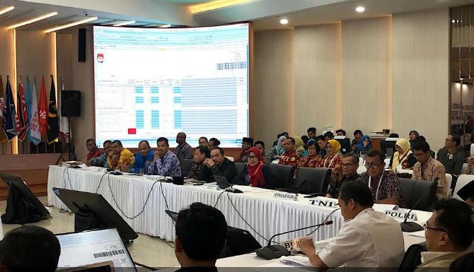 Rapat pleno terbuka rekapitulasi nasional Provinsi Papua Barat di Gedung KPU Jakarta.