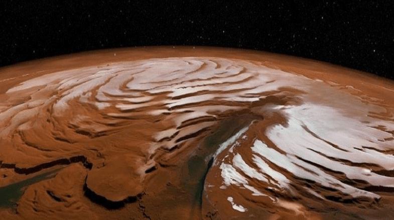 Ilmuwan menemukan endapan air membeku di Mars. (Foto: NASA)