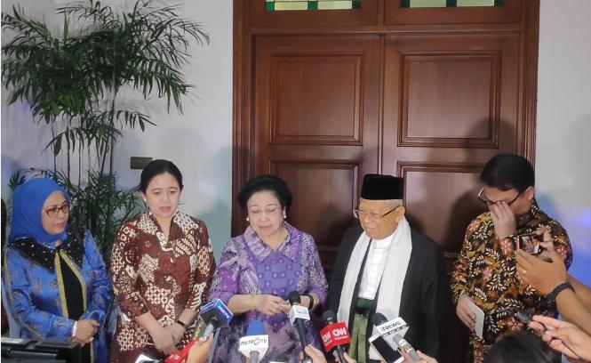 Ma'ruf Amin menggelar pertemuan dengan Dewan Penasihat Tim Kampanye Nasional (TKN) Joko Widodo-Ma'ruf Amin, Megawati Soekarnoputri.