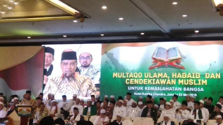 Ketua Umum PBNU KH Said Aqil Siroj memberikan pidato sambutan di acara Multaqo Ulama, Habaib, dan Cendekiawan Muslim di Jakarta, Jumat (3/5/2019) malam.