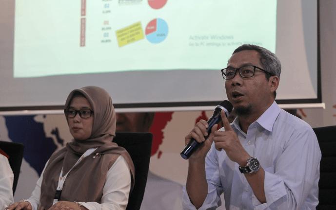 Direktur Komunikasi Politik TKN Jokowi-Ma'ruf Usman Kansong (kanan).
