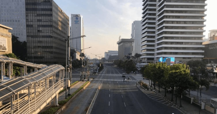 Suasana Jalanan di Jakarta saat Idul Fitri 2019.