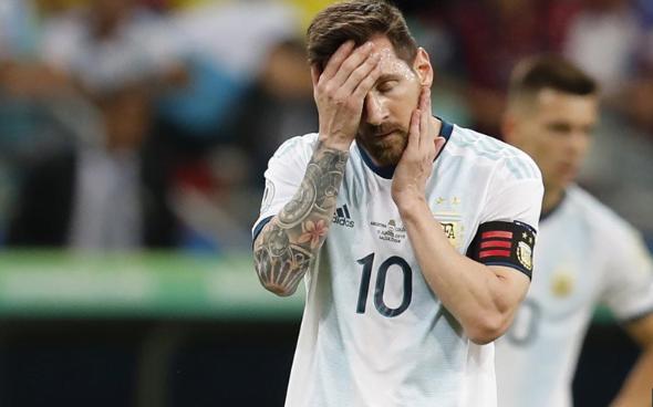 Ekspresi Messi usai timnya dikalahkan Timnas Kolombia 2-0.