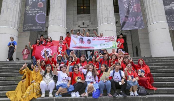 Relawan Jokowi-Ma'ruf di Taiwan berkumpul menggelar syukuran kemenangan.